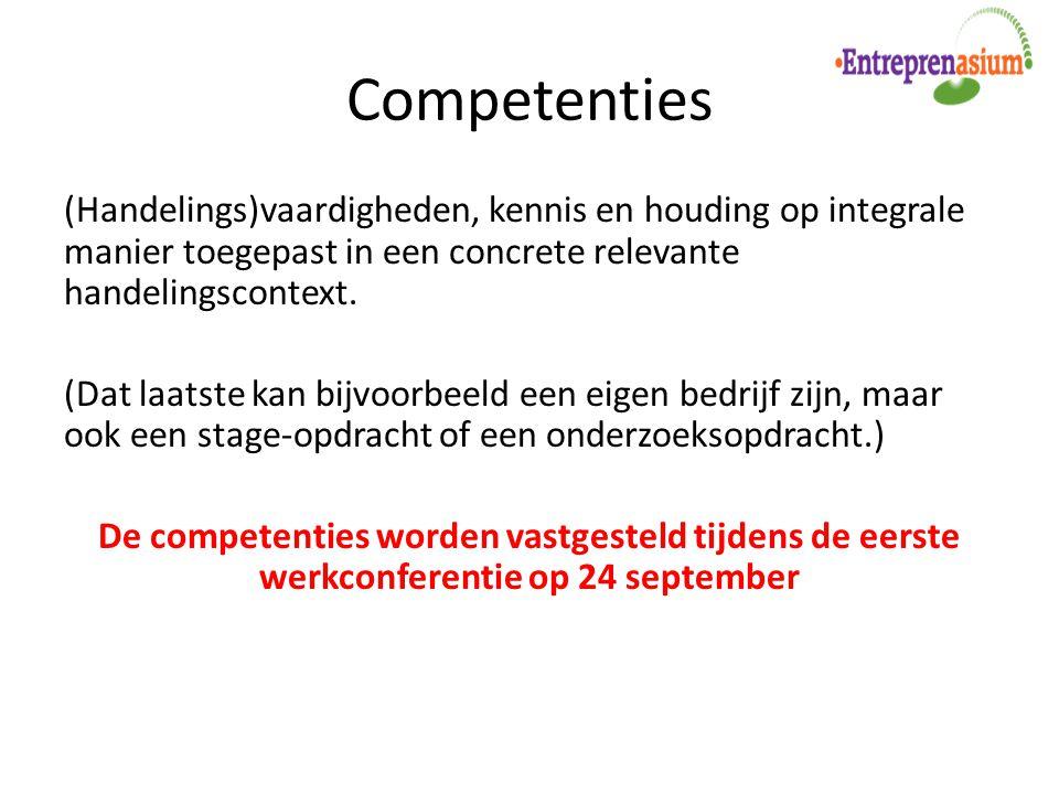 Competenties (Handelings)vaardigheden, kennis en houding op integrale manier toegepast in een concrete relevante handelingscontext. (Dat laatste kan b