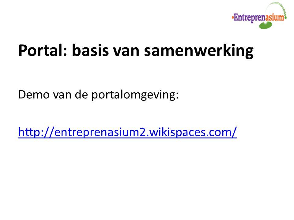 Portal: basis van samenwerking Demo van de portalomgeving: http://entreprenasium2.wikispaces.com/