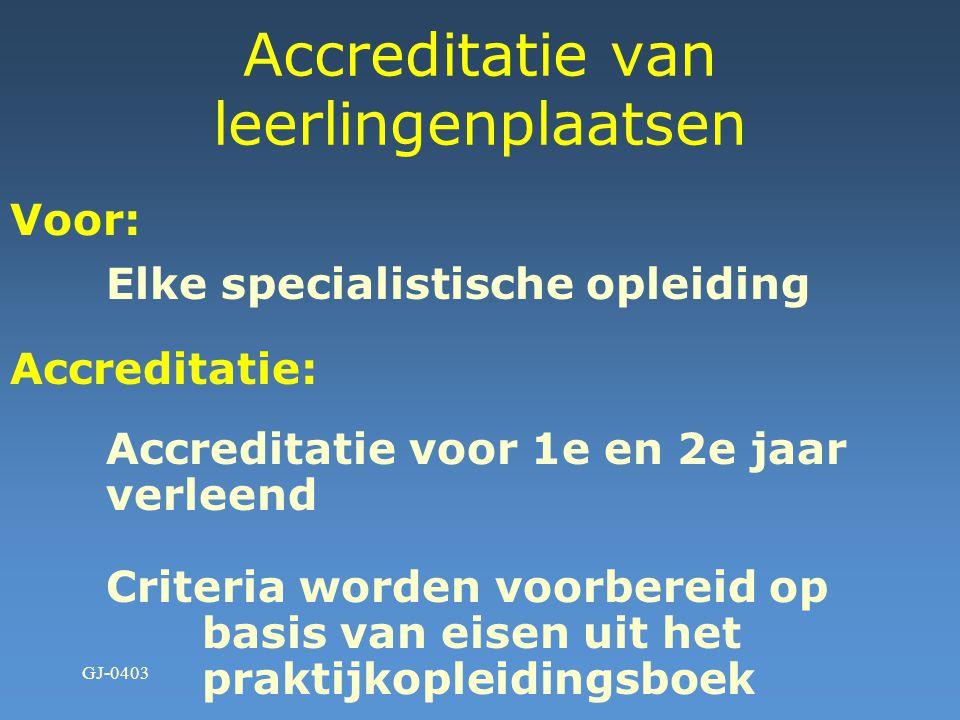 GJ-0403 Accreditatie van leerlingenplaatsen Voor: Eerste en tweede jaar Accreditatie: Aangevraagd- 40 ziekenhuizen Verleend- 30 ziekenhuizen