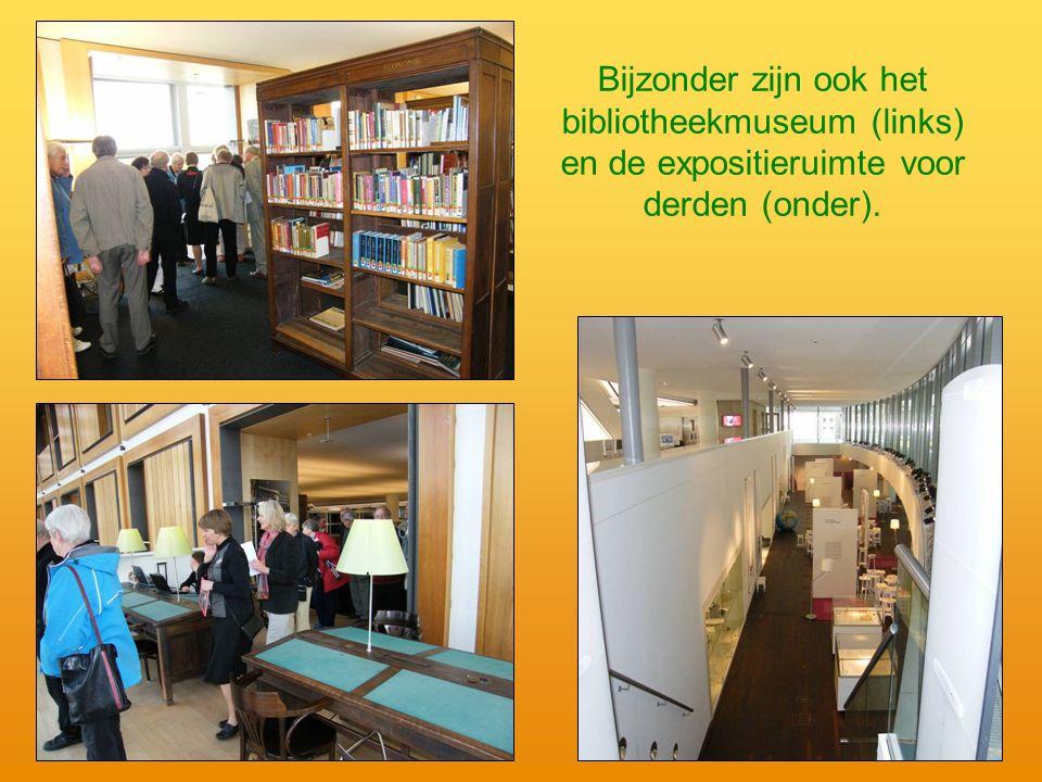 Bijzonder zijn ook het bibliotheekmuseum (links) en de expositieruimte voor derden (onder).