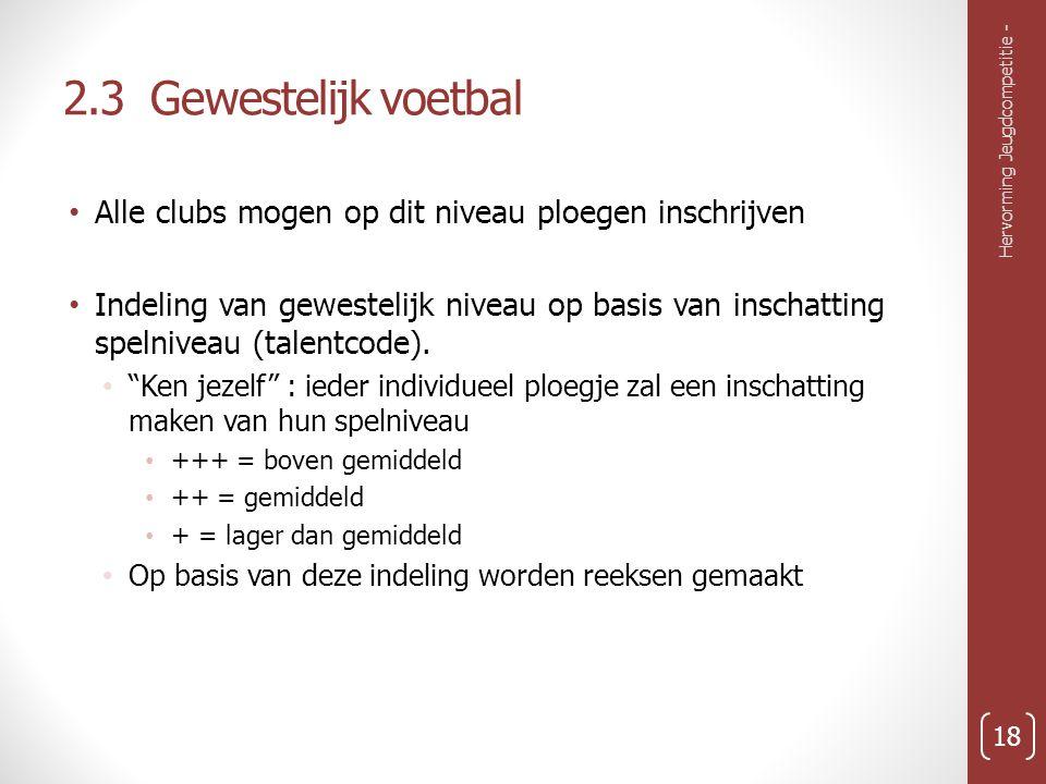 2.3 Gewestelijk voetbal Alle clubs mogen op dit niveau ploegen inschrijven Indeling van gewestelijk niveau op basis van inschatting spelniveau (talentcode).