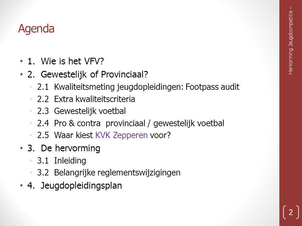 Agenda 1.Wie is het VFV. 2. Gewestelijk of Provinciaal.