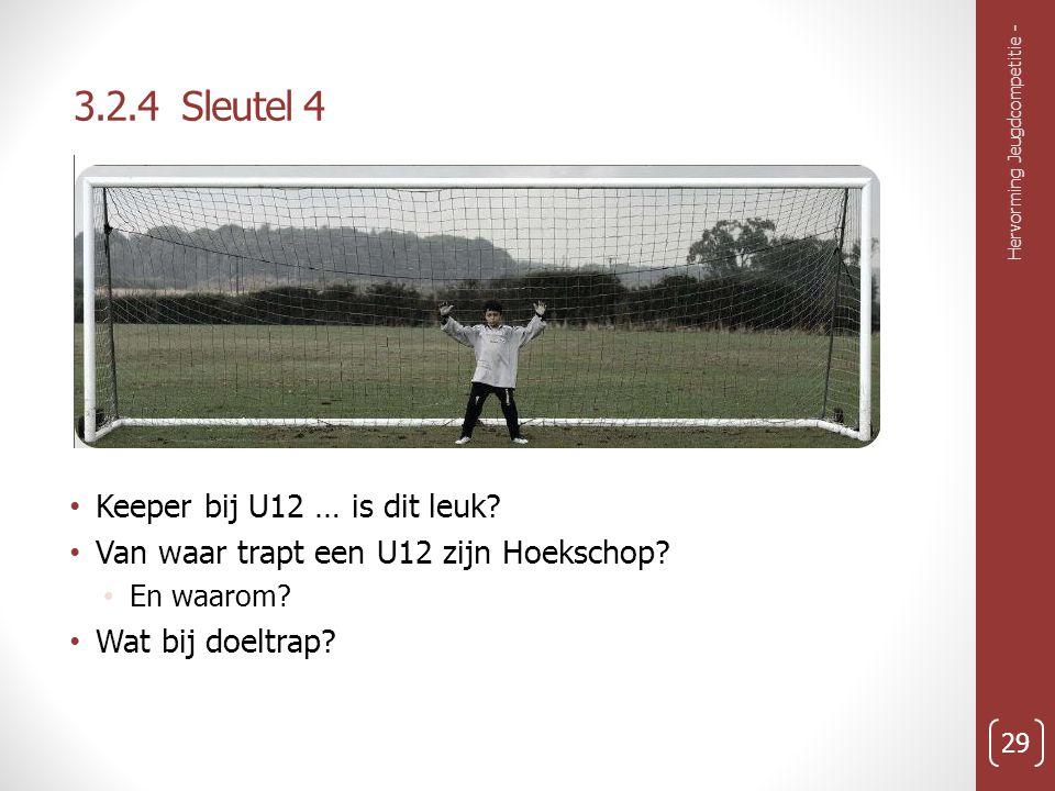 3.2.4 Sleutel 4 Keeper bij U12 … is dit leuk.Van waar trapt een U12 zijn Hoekschop.