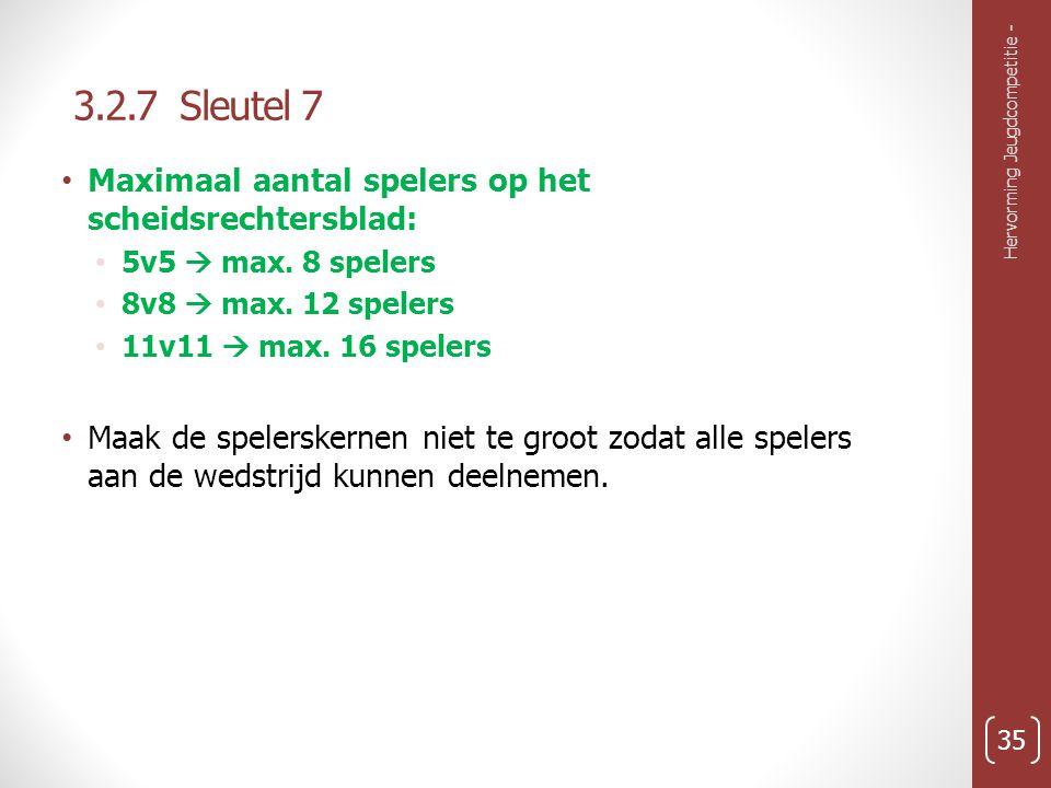 3.2.7 Sleutel 7 Hervorming Jeugdcompetitie - 35 Maximaal aantal spelers op het scheidsrechtersblad: 5v5  max.