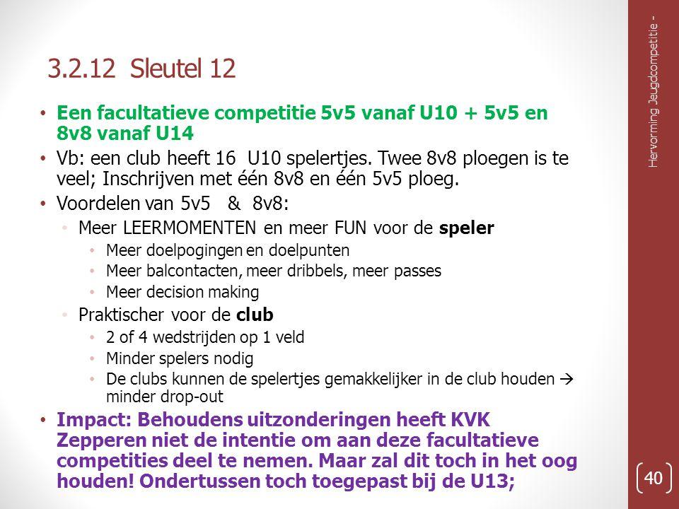 3.2.12 Sleutel 12 Hervorming Jeugdcompetitie - 40 Een facultatieve competitie 5v5 vanaf U10 + 5v5 en 8v8 vanaf U14 Vb: een club heeft 16 U10 spelertjes.