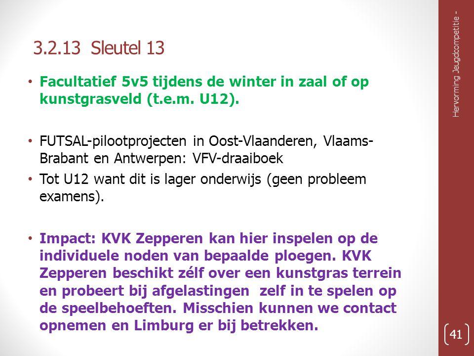 3.2.13 Sleutel 13 Hervorming Jeugdcompetitie - 41 Facultatief 5v5 tijdens de winter in zaal of op kunstgrasveld (t.e.m.