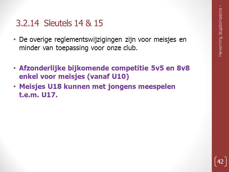 3.2.14 Sleutels 14 & 15 Hervorming Jeugdcompetitie - 42 De overige reglementswijzigingen zijn voor meisjes en minder van toepassing voor onze club.