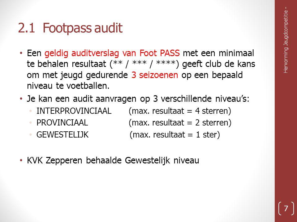 2.1 Footpass audit Een geldig auditverslag van Foot PASS met een minimaal te behalen resultaat (** / *** / ****) geeft club de kans om met jeugd gedurende 3 seizoenen op een bepaald niveau te voetballen.