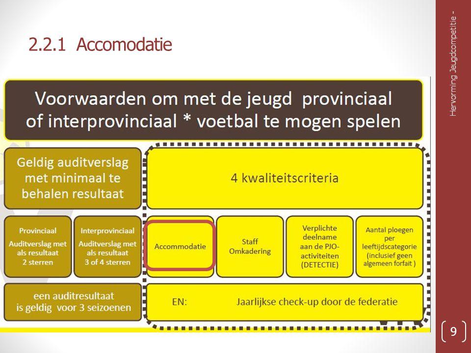 2.2.1 Accomodatie Extra voorwaarde 1: Minstens 2 goed bespeelbare terreinen hebben Conclusie: KVK Zepperen voldoet Hervorming Jeugdcompetitie - 10