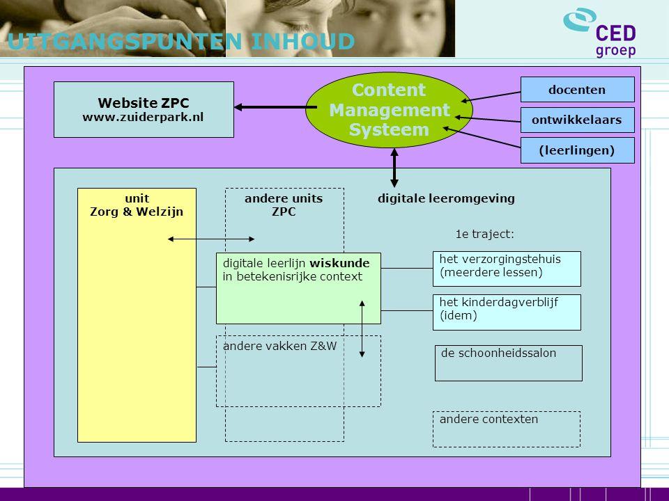 1e traject: andere units ZPC unit Zorg & Welzijn digitale leerlijn wiskunde in betekenisrijke context andere vakken Z&W het kinderdagverblijf (idem) h