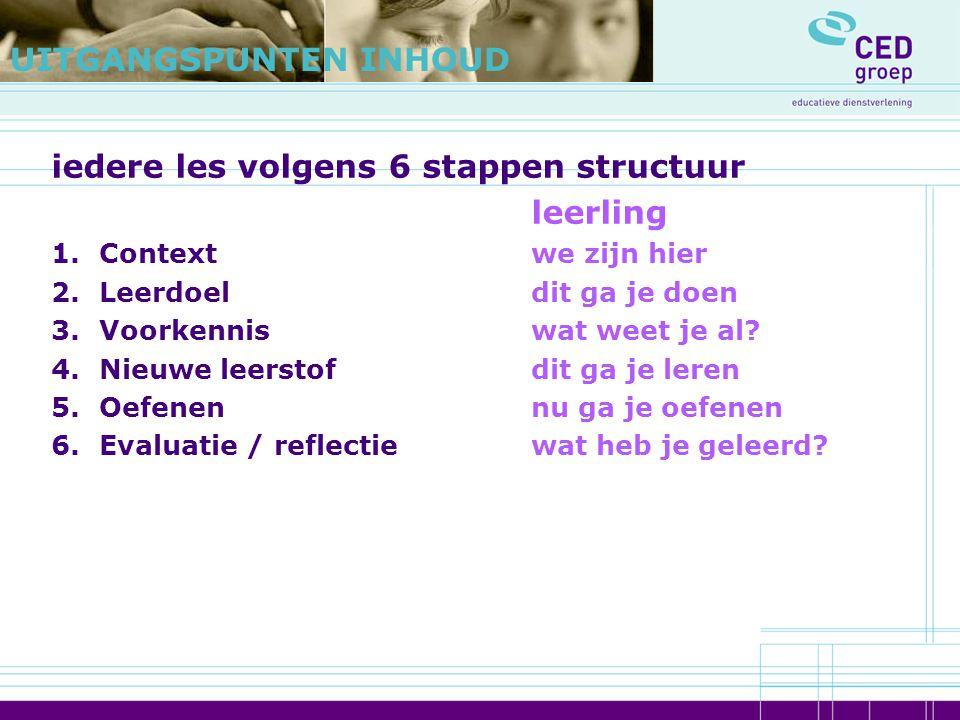 iedere les volgens 6 stappen structuur leerling 1.Contextwe zijn hier 2.Leerdoeldit ga je doen 3.Voorkenniswat weet je al? 4.Nieuwe leerstofdit ga je