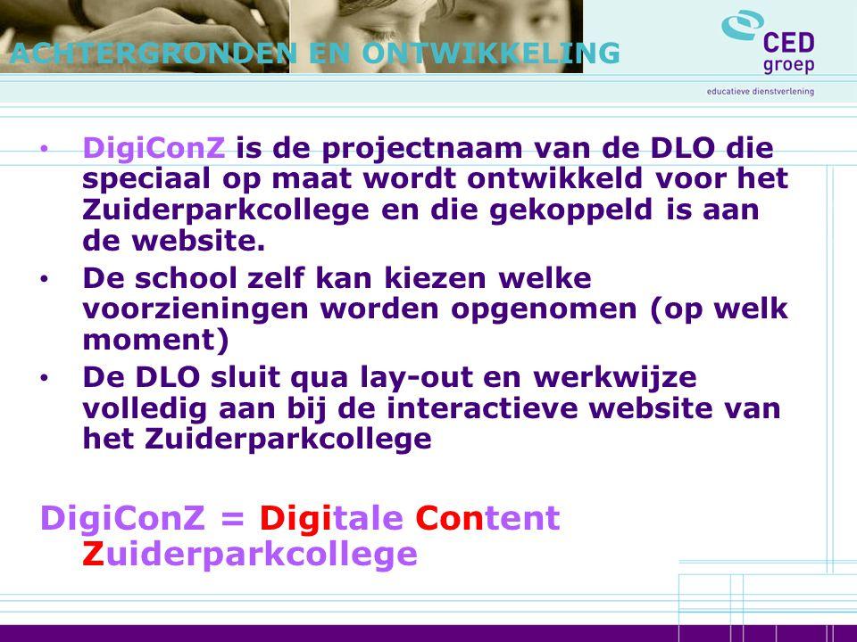 DigiConZ is de projectnaam van de DLO die speciaal op maat wordt ontwikkeld voor het Zuiderparkcollege en die gekoppeld is aan de website. De school z
