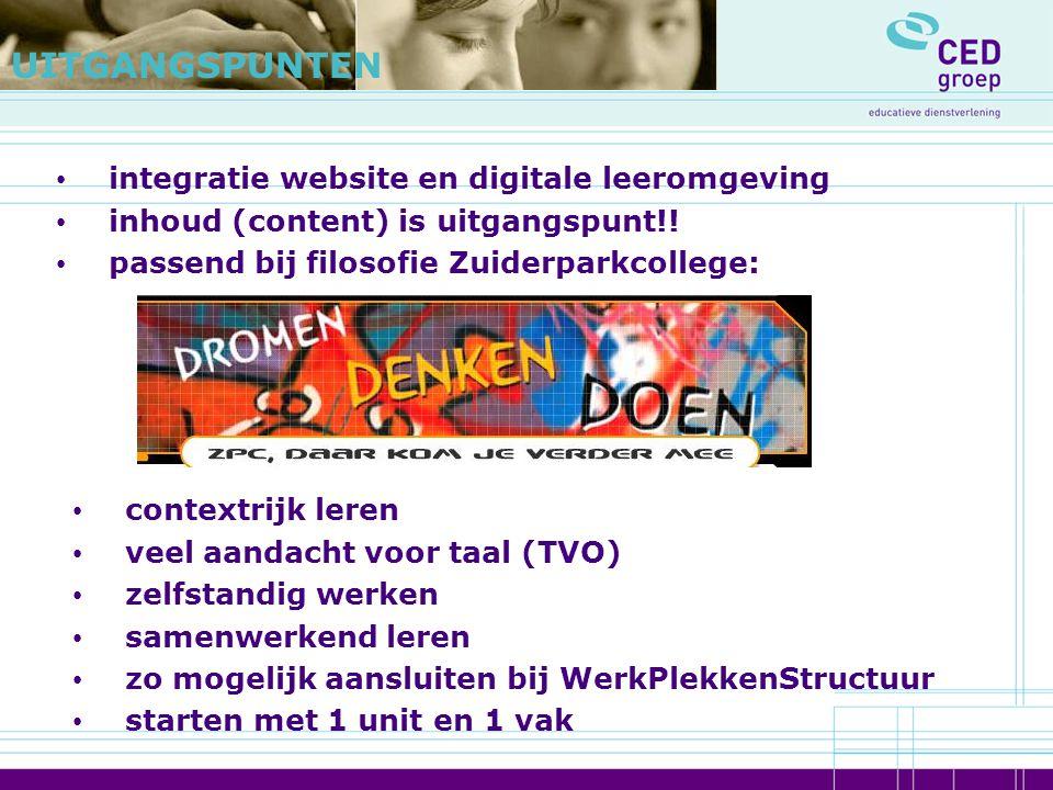 integratie website en digitale leeromgeving inhoud (content) is uitgangspunt!! passend bij filosofie Zuiderparkcollege: UITGANGSPUNTEN contextrijk ler