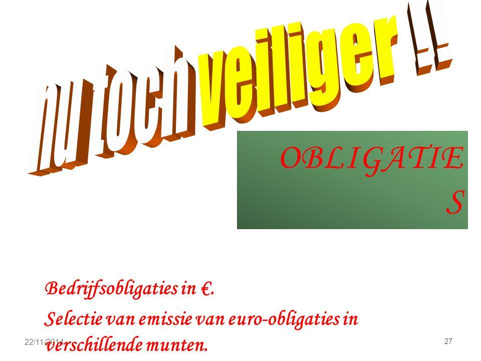 OBLIGATIE S 22/11/2014 27 Bedrijfsobligaties in €.