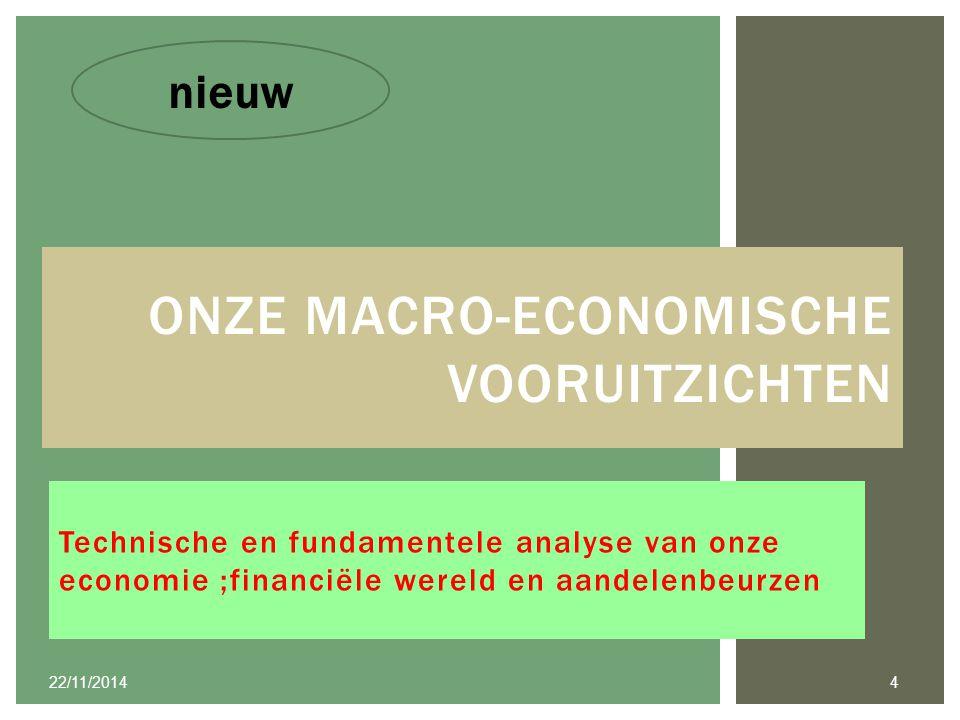 Technische en fundamentele analyse van onze economie ;financiële wereld en aandelenbeurzen ONZE MACRO-ECONOMISCHE VOORUITZICHTEN 22/11/2014 4 nieuw