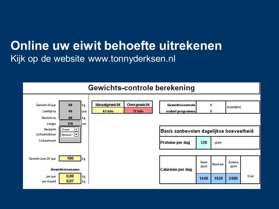 Online uw eiwit behoefte uitrekenen Kijk op de website www.tonnyderksen.nl