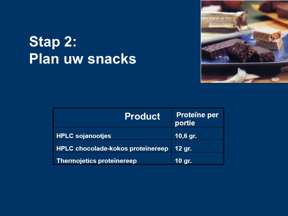 Product Proteïne per portie HPLC sojanootjes10,6 gr. HPLC chocolade-kokos proteïnereep12 gr. Thermojetics proteïnereep10 gr. Stap 2: Plan uw snacks