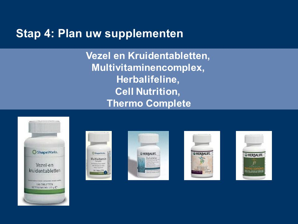 Vezel en Kruidentabletten, Multivitaminencomplex, Herbalifeline, Cell Nutrition, Thermo Complete Stap 4: Plan uw supplementen