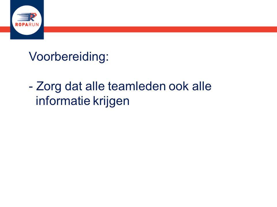 Voorbereiding: - Zorg dat alle teamleden ook alle informatie krijgen