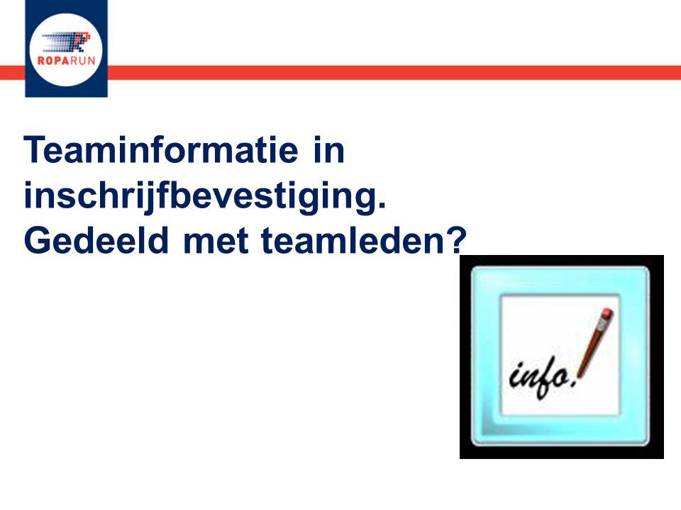 Teaminformatie in inschrijfbevestiging. Gedeeld met teamleden