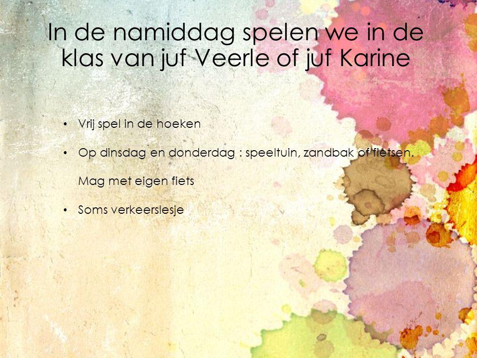 In de namiddag spelen we in de klas van juf Veerle of juf Karine Vrij spel in de hoeken Op dinsdag en donderdag : speeltuin, zandbak of fietsen. Mag m