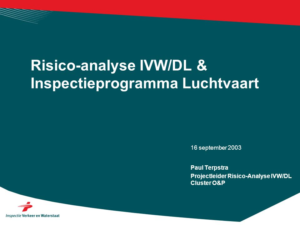 16 september 2003 Risico-analyse IVW/DL & Inspectieprogramma Luchtvaart Paul Terpstra Projectleider Risico-Analyse IVW/DL Cluster O&P