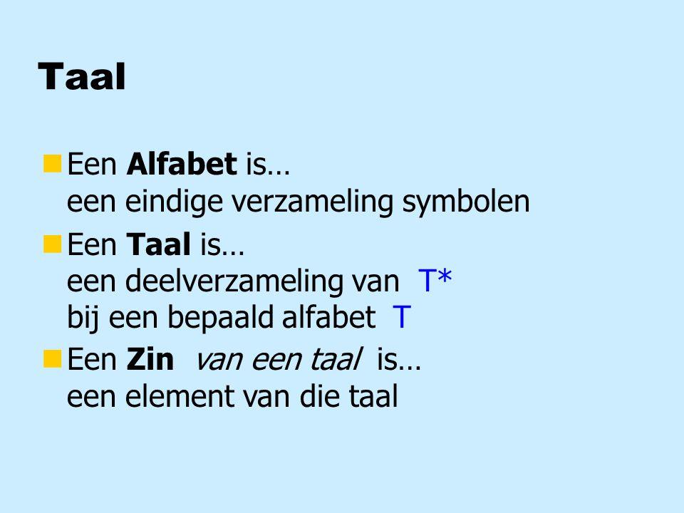 Taal nEen Alfabet is… een eindige verzameling symbolen nEen Taal is… een deelverzameling van T* bij een bepaald alfabet T nEen Zin is… een element van een taal nEen Zin van een taal is… een element van die taal