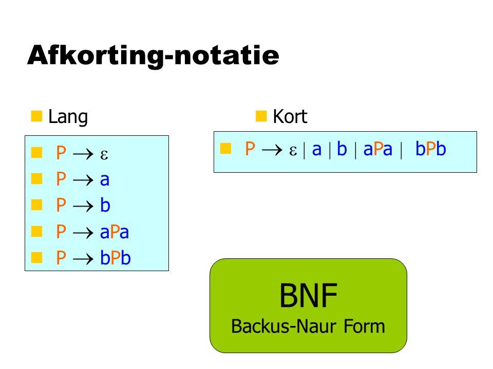 Afkorting-notatie nLangn Kort P   P  a P  b P  aPa P  bPb P   a  b  aPa  bPb BNF Backus-Naur Form