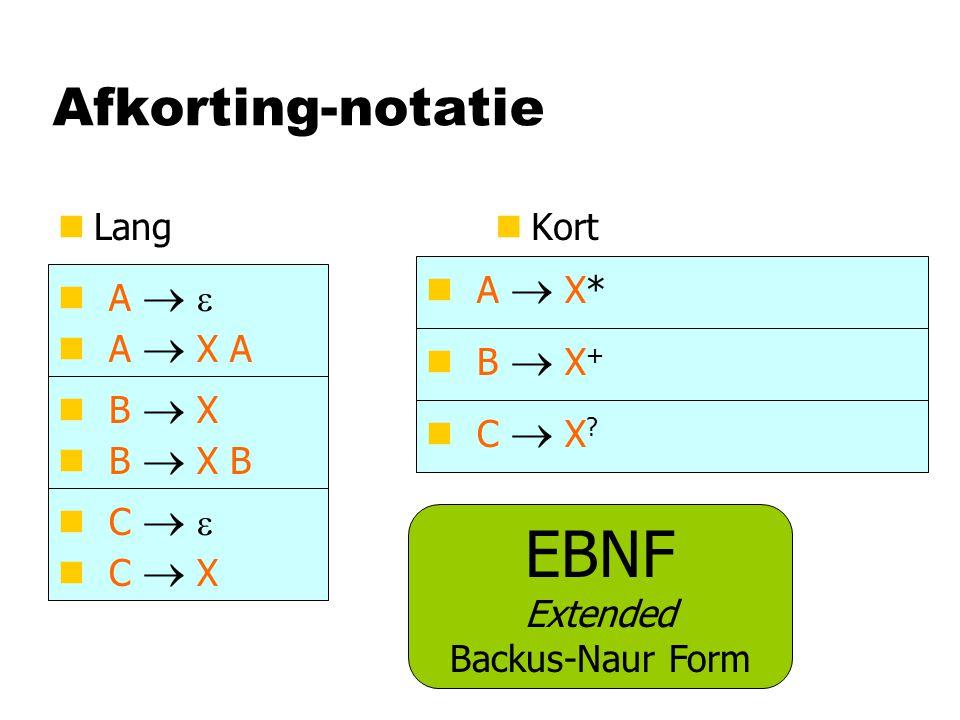 Afkorting-notatie nLangn Kort A   A  X A A  X* EBNF Extended Backus-Naur Form B  X + B  X B  X B C  X ? C   C  X