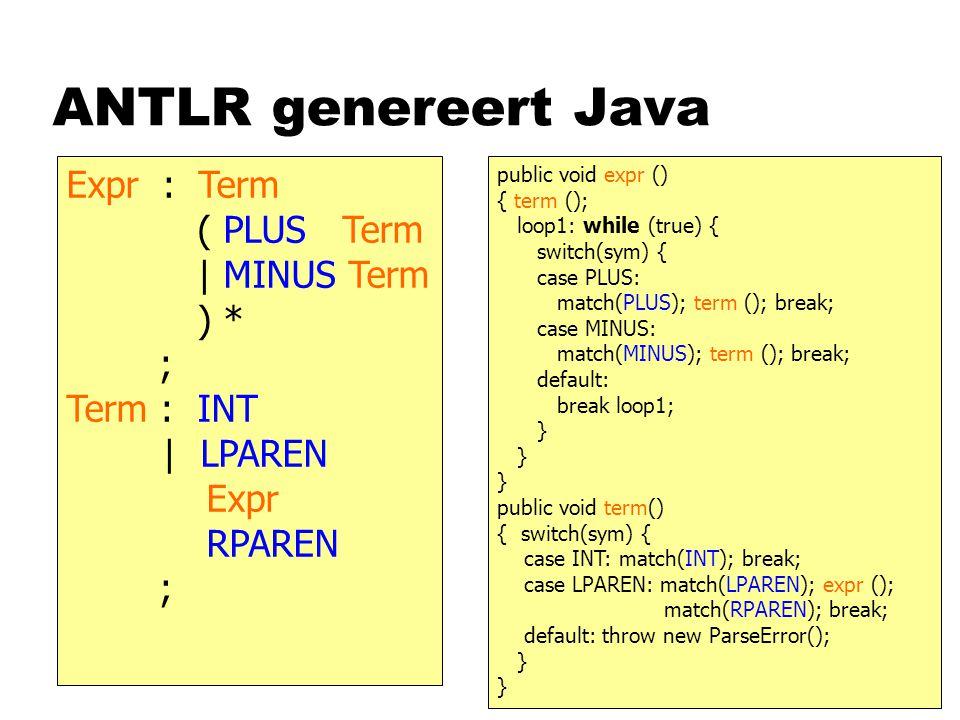 ANTLR genereert Java Expr: Term ( PLUS Term | MINUS Term ) * ; Term : INT | LPAREN Expr RPAREN ; public void expr () { term (); loop1: while (true) { switch(sym) { case PLUS: match(PLUS); term (); break; case MINUS: match(MINUS); term (); break; default: break loop1; } public void term() { switch(sym) { case INT: match(INT); break; case LPAREN: match(LPAREN); expr (); match(RPAREN); break; default: throw new ParseError(); }