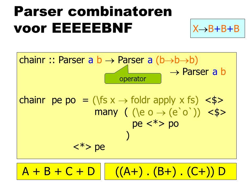 Parser combinatoren voor EEEEEBNF XB+B+BXB+B+B chainr :: Parser a b  Parser a (b  b  b)  Parser a b chainr pe po = many ( pe po ) pe operator (\e o  (e`o`)) (\fs x  foldr apply x fs) A + B + C + D((A+).