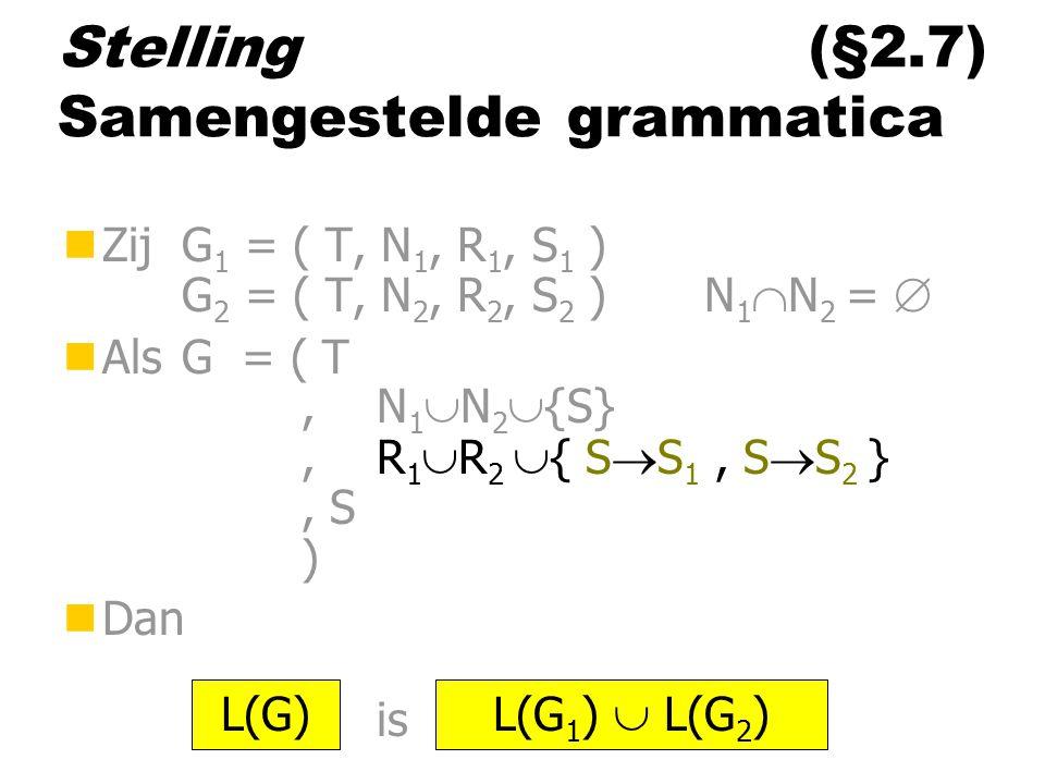 Stelling (§2.7) Samengestelde grammatica nZij G 1 = ( T, N 1, R 1, S 1 ) G 2 = ( T, N 2, R 2, S 2 ) N 1  N 2 =  nAls G = ( T,N 1  N 2  {S},R 1  R 2  { S  S 1, S  S 2 }, S ) nDan is L(G) L(G 1 )  L(G 2 )