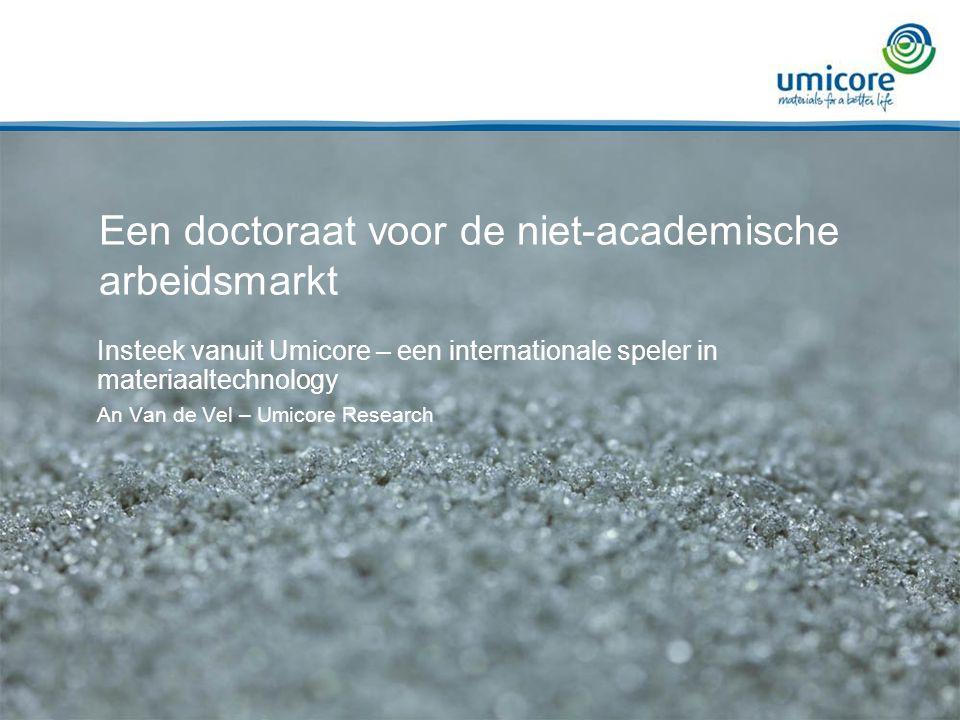 Een doctoraat voor de niet-academische arbeidsmarkt Insteek vanuit Umicore – een internationale speler in materiaaltechnology An Van de Vel – Umicore