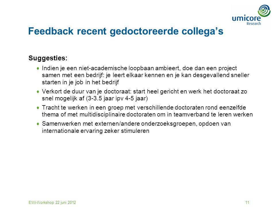 EWI-Workshop 22 juni 201211 Feedback recent gedoctoreerde collega's Suggesties:  Indien je een niet-academische loopbaan ambieert, doe dan een projec