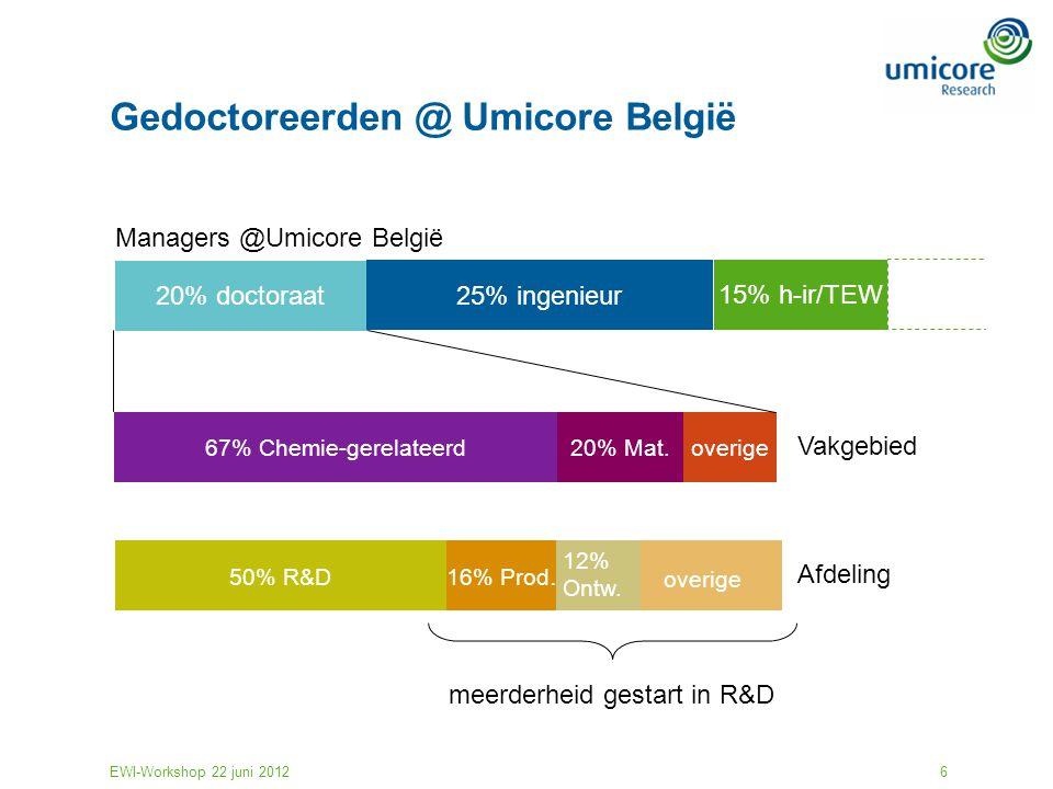 EWI-Workshop 22 juni 20126 Gedoctoreerden @ Umicore België 20% doctoraat 25% ingenieur 15% h-ir/TEW Managers @Umicore België 67% Chemie-gerelateerdove