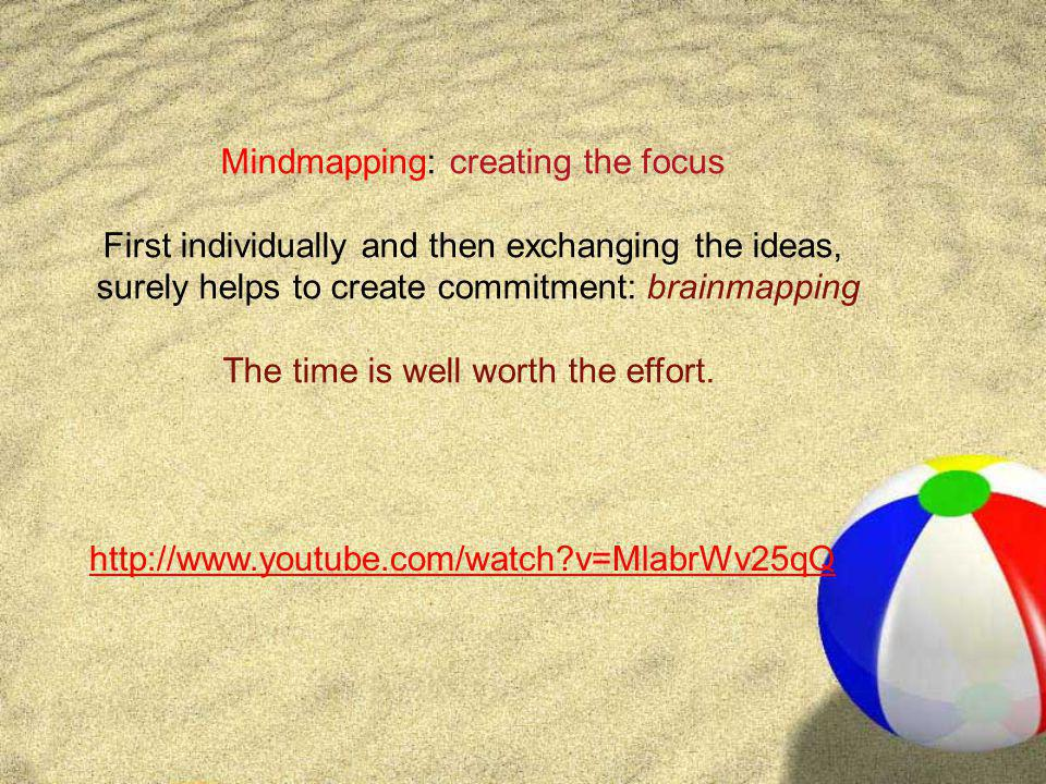 http://www.youtube.com/watch?v=MlabrWv25qQ Mindmapping: creating the focus First individually and then exchanging the ideas, surely helps to create co