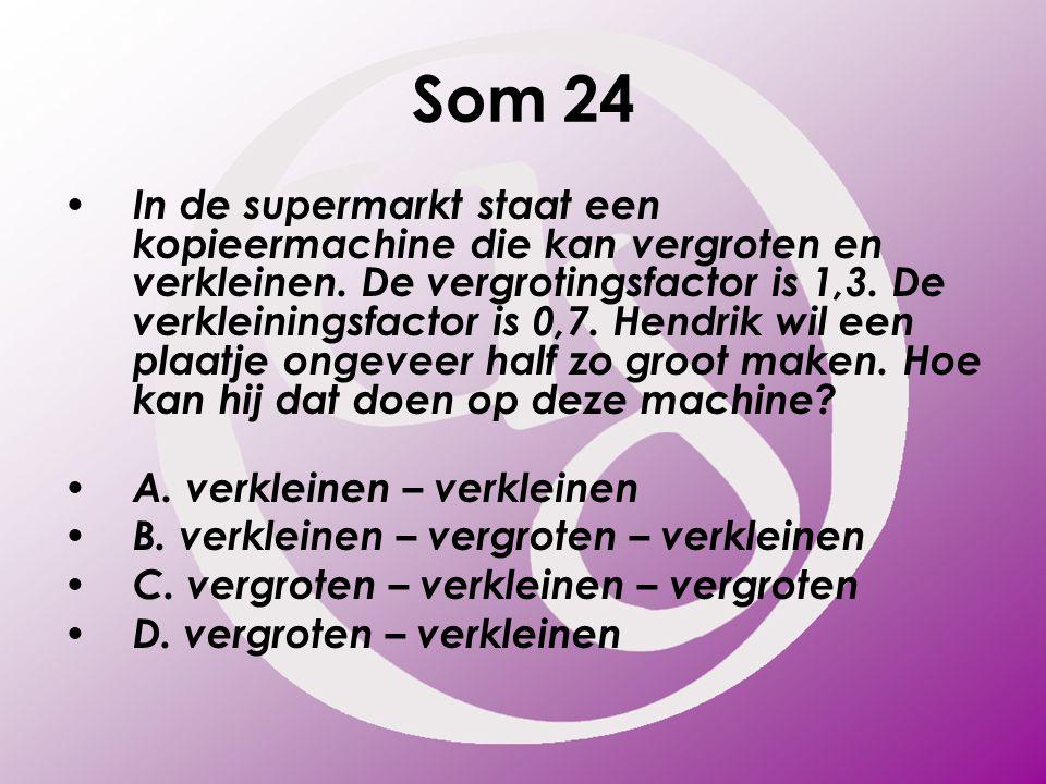 Som 24 In de supermarkt staat een kopieermachine die kan vergroten en verkleinen. De vergrotingsfactor is 1,3. De verkleiningsfactor is 0,7. Hendrik w