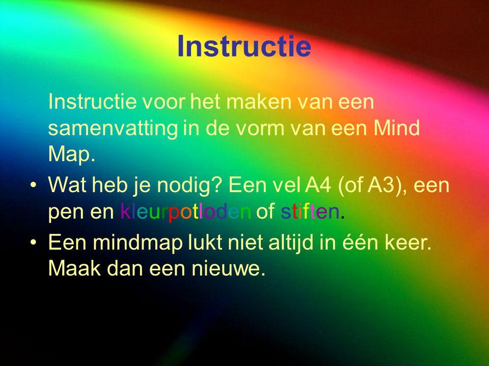 Instructie Instructie voor het maken van een samenvatting in de vorm van een Mind Map. Wat heb je nodig? Een vel A4 (of A3), een pen en kleurpotloden