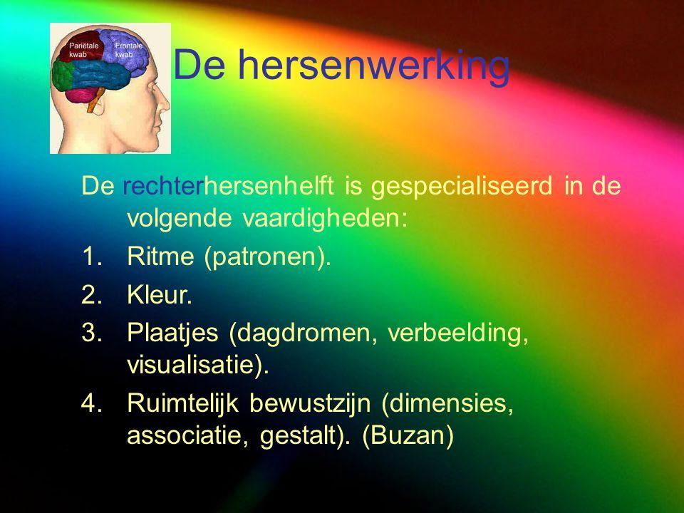 De hersenwerking De rechterhersenhelft is gespecialiseerd in de volgende vaardigheden: 1.Ritme (patronen). 2.Kleur. 3.Plaatjes (dagdromen, verbeelding