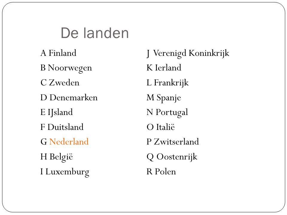 De landen A FinlandJ Verenigd Koninkrijk B NoorwegenK Ierland C ZwedenL Frankrijk D DenemarkenM Spanje E IJslandN Portugal F DuitslandO Italië G Neder