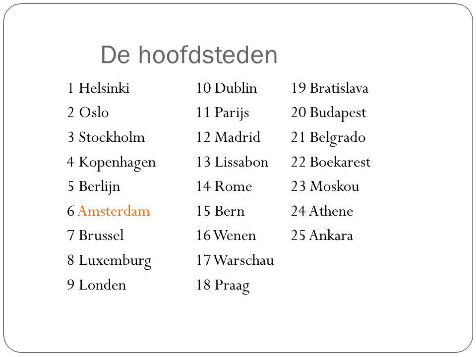 De hoofdsteden 1 Helsinki10 Dublin19 Bratislava 2 Oslo11 Parijs20 Budapest 3 Stockholm12 Madrid21 Belgrado 4 Kopenhagen13 Lissabon22 Boekarest 5 Berli