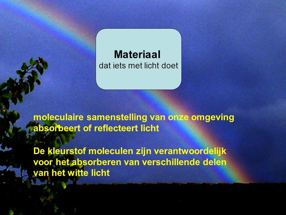 Materiaal dat iets met licht doet moleculaire samenstelling van onze omgeving absorbeert of reflecteert licht De kleurstof moleculen zijn verantwoorde