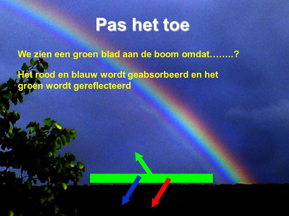 Pas het toe We zien een groen blad aan de boom omdat……..? Het rood en blauw wordt geabsorbeerd en het groen wordt gereflecteerd