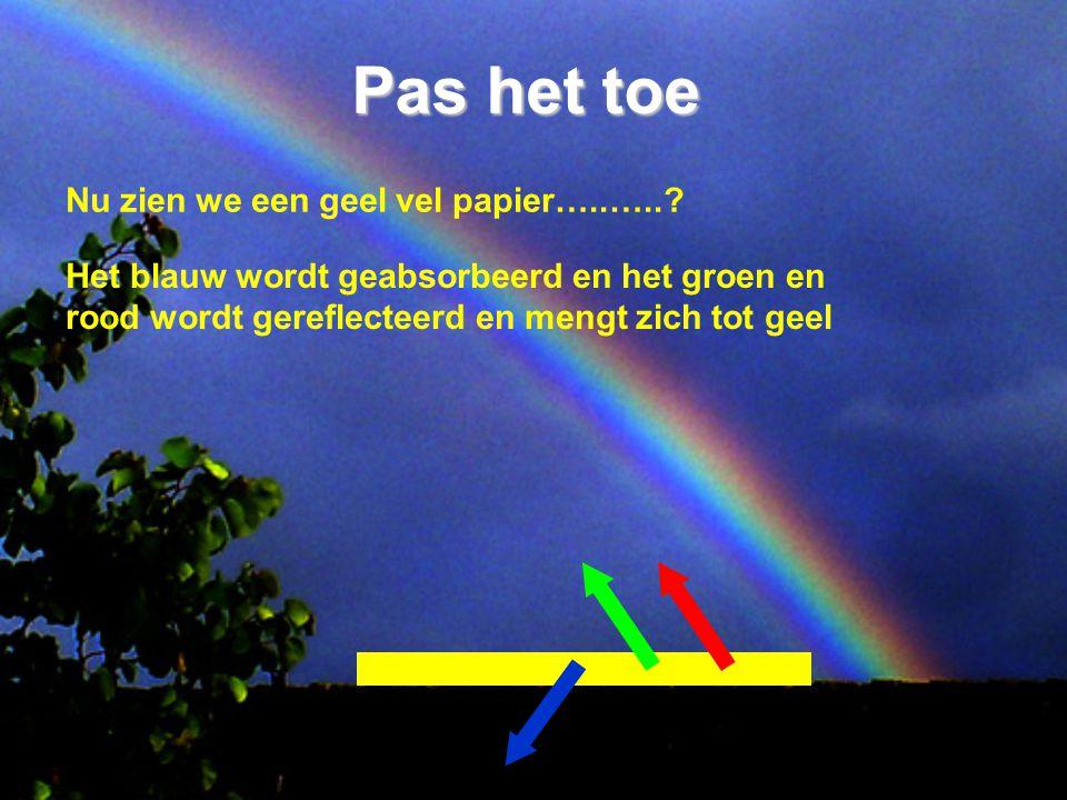 Pas het toe Nu zien we een geel vel papier…..…..? Het blauw wordt geabsorbeerd en het groen en rood wordt gereflecteerd en mengt zich tot geel