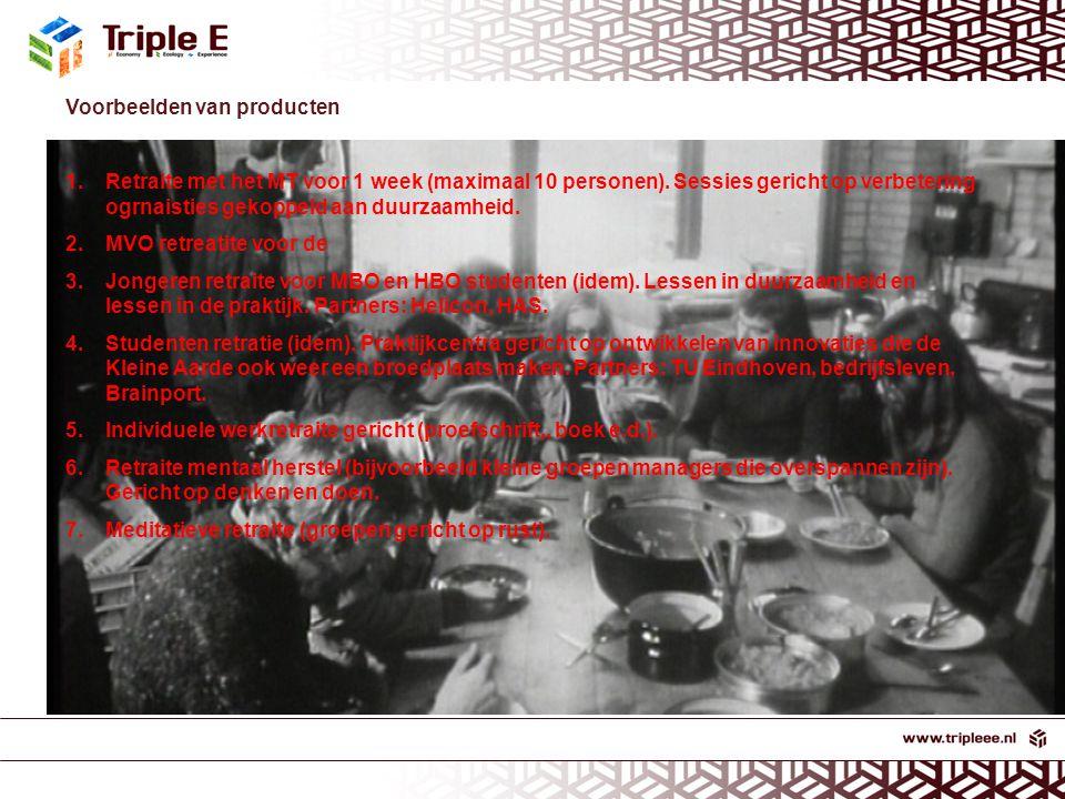 Voorbeelden van producten 1.Retraite met het MT voor 1 week (maximaal 10 personen).