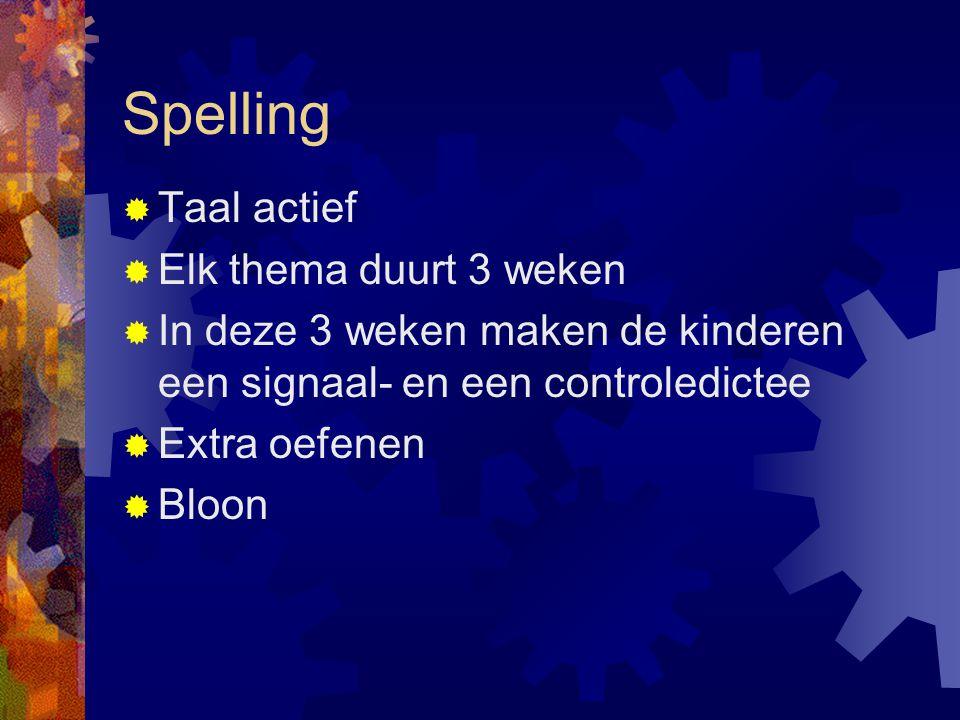 Spelling  Taal actief  Elk thema duurt 3 weken  In deze 3 weken maken de kinderen een signaal- en een controledictee  Extra oefenen  Bloon