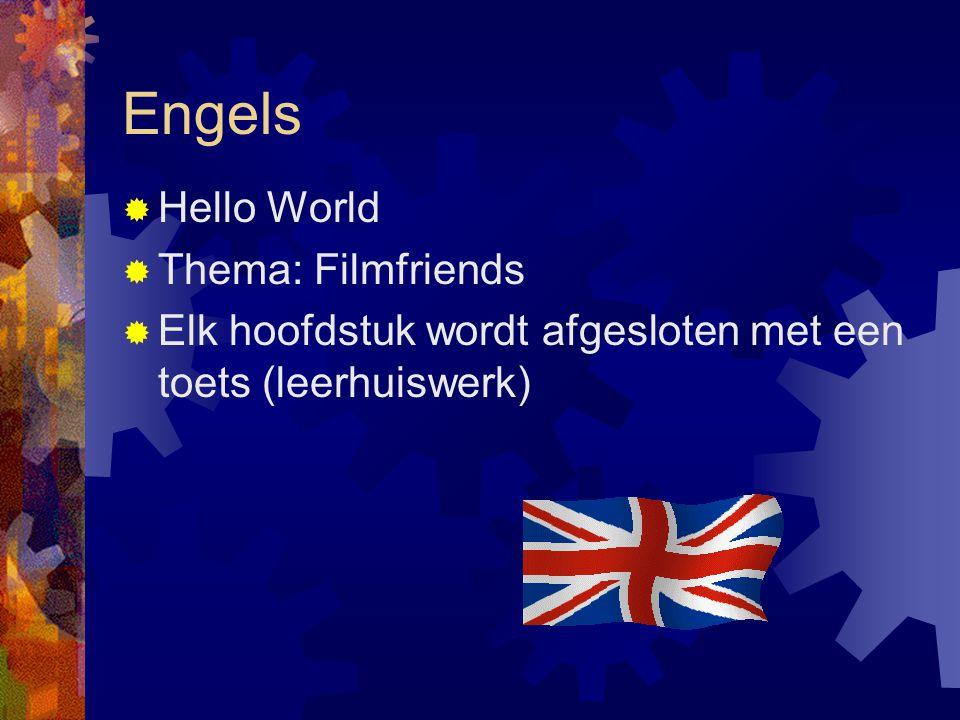 Engels  Hello World  Thema: Filmfriends  Elk hoofdstuk wordt afgesloten met een toets (leerhuiswerk)