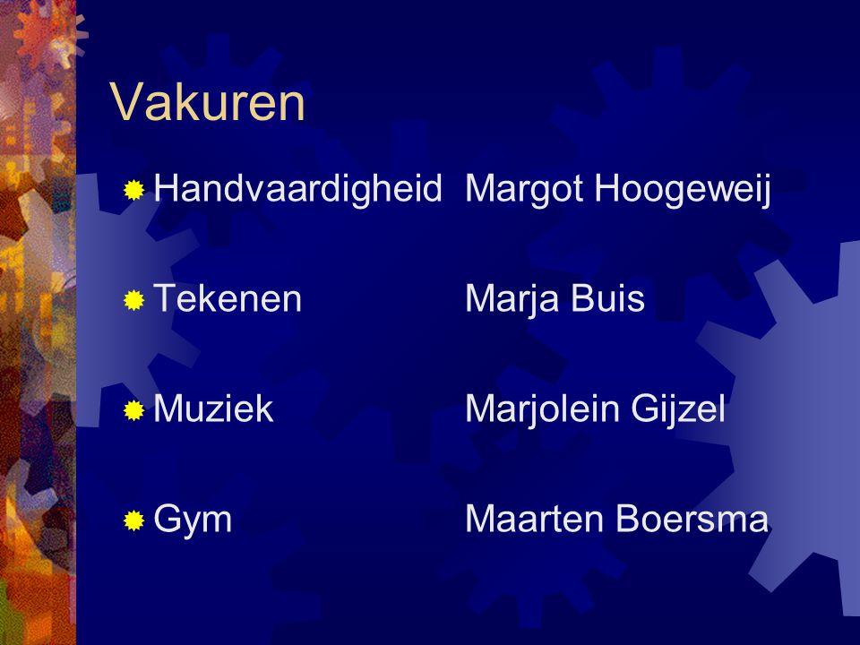 Vakuren  HandvaardigheidMargot Hoogeweij  TekenenMarja Buis  Muziek Marjolein Gijzel  GymMaarten Boersma
