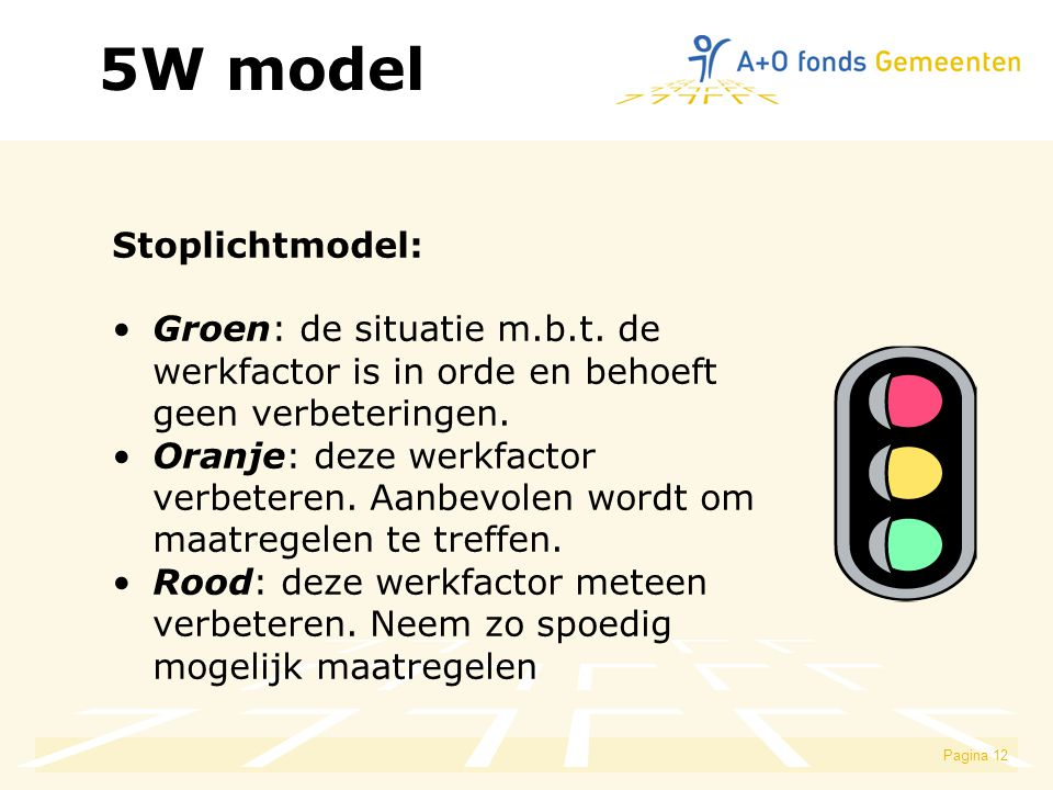 Pagina 12 5W model Stoplichtmodel: Groen: de situatie m.b.t. de werkfactor is in orde en behoeft geen verbeteringen. Oranje: deze werkfactor verbetere