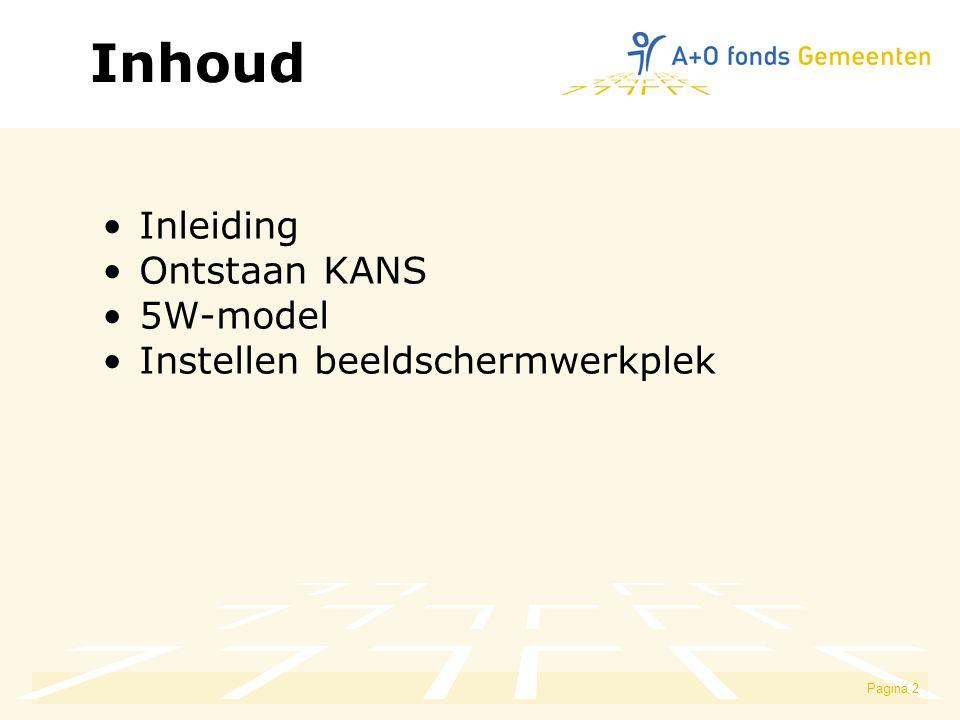 Pagina 2 Inhoud Inleiding Ontstaan KANS 5W-model Instellen beeldschermwerkplek